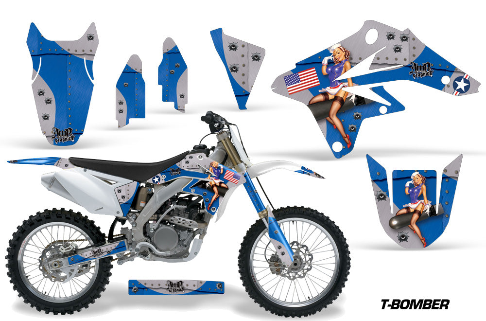 Dirt Bike Graphics Kit Decal Sticker Wrap For Suzuki RMZ250 2007-2009 TBOMBER BLUE