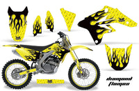 Graphics Kit Decal Sticker Wrap + # Plates For Suzuki RMZ250 2007-2009 DIAMOND FLAMES BLACK YELLOW