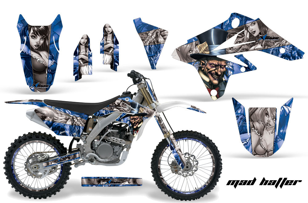 Graphics Kit Decal Sticker Wrap + # Plates For Suzuki RMZ250 2007-2009 HATTER SILVER BLUE