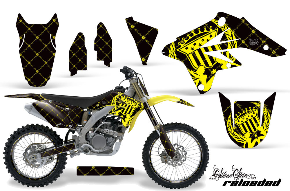 Graphics Kit Decal Sticker Wrap + # Plates For Suzuki RMZ250 2007-2009 RELOADED YELLOW BLACK-atv motorcycle utv parts accessories gear helmets jackets gloves pantsAll Terrain Depot