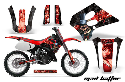 Dirt Bike Graphics Kit Decal Sticker Wrap For Suzuki RM125 1993-1995 HATTER RED BLACK