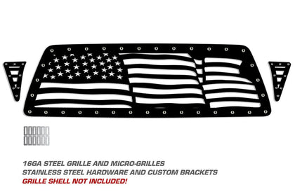 1 Piece Steel Grille for Toyota Tacoma 2005-2011 - WAVY AMERICAN FLAG