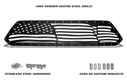 1 Piece Steel Grille for Toyota Tacoma 2012-2015 - WAVY AMERICAN FLAG