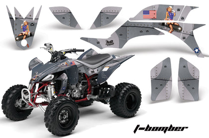 ATV Graphics Kit Quad Decal Sticker Wrap For Yamaha YFZ450 2004-2013 TBOMBER SILVER