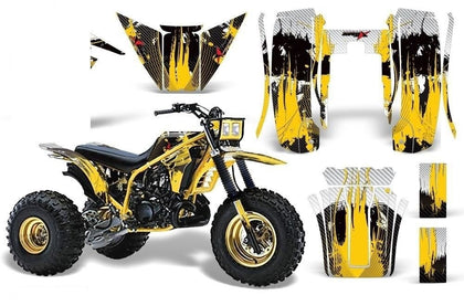 3 Wheeler Graphics Kit Decal Sticker Wrap For Yamaha Tri Z 250 1985-1986 CARBONX YELLOW
