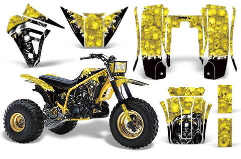 3 Wheeler Graphics Kit Decal Sticker Wrap For Yamaha Tri Z 250 1985-1986 REAPER YELLOW