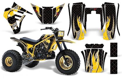 3 Wheeler Graphics Kit Decal Sticker Wrap For Yamaha Tri Z 250 1985-1986 TRIBAL YELLOW BLACK