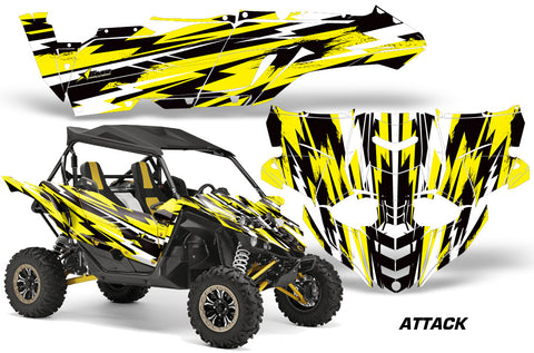 UTV Decal Graphic Kit Side By Side Wrap For Yamaha YXZ 1000R 2015-2018 ATTACK YELLOW
