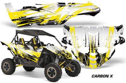 UTV Decal Graphic Kit Side By Side Wrap For Yamaha YXZ 1000R 2015-2018 CARBONX YELLOW