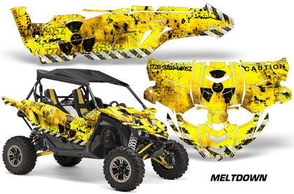 UTV Decal Graphic Kit Side By Side Wrap For Yamaha YXZ 1000R 2015-2018 MELTDOWN BLACK YELLOW