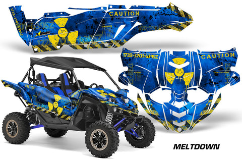 UTV Decal Graphic Kit Side By Side Wrap For Yamaha YXZ 1000R 2015-2018 MELTDOWN YELLOW BLUE