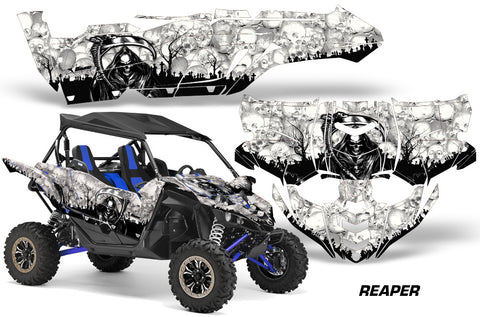UTV Decal Graphic Kit Side By Side Wrap For Yamaha YXZ 1000R 2015-2018 REAPER WHITE