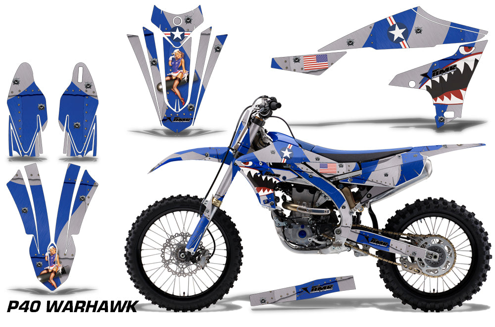 P-40 Warhawk Red Silver AMR Racing MX Dirt Bike Graphics kit Sticker Decal Compatible with Honda CRF50 2004-2013