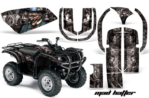 ATV Graphics Kit Quad Decal Wrap For Yamaha Grizzly YFM 660 2002-2008 HATTER SILVER BLACK
