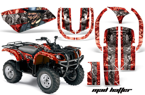 ATV Graphics Kit Quad Decal Wrap For Yamaha Grizzly YFM 660 2002-2008 HATTER SILVER RED