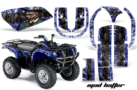 ATV Graphics Kit Quad Decal Wrap For Yamaha Grizzly YFM 660 2002-2008 HATTER BLACK BLUE