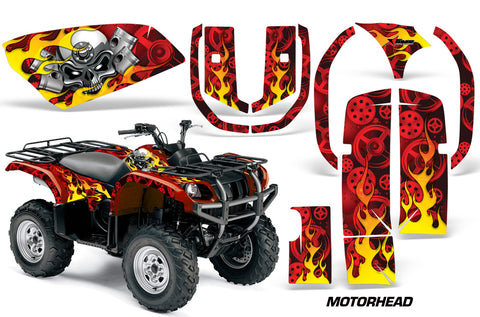 ATV Graphics Kit Quad Decal Wrap For Yamaha Grizzly YFM 660 2002-2008 MOTORHEAD RED