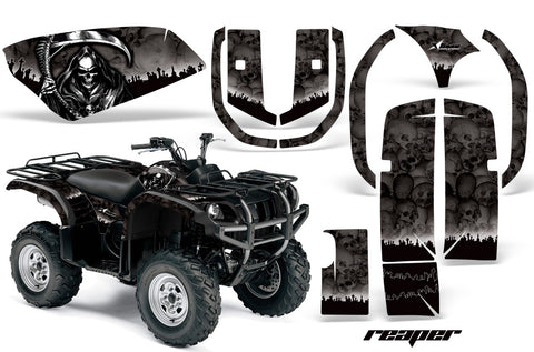ATV Graphics Kit Quad Decal Wrap For Yamaha Grizzly YFM 660 2002-2008 REAPER BLACK