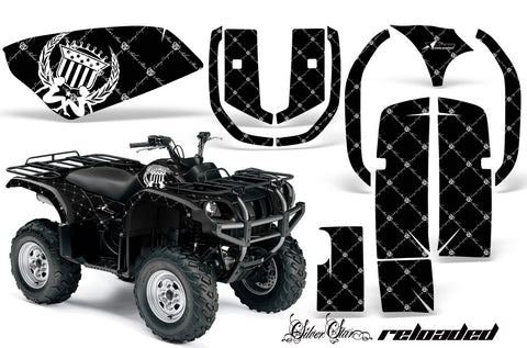 ATV Graphics Kit Quad Decal Wrap For Yamaha Grizzly YFM 660 2002-2008 RELOADED WHITE BLACK