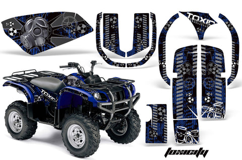 ATV Graphics Kit Quad Decal Wrap For Yamaha Grizzly YFM 660 2002-2008 TOXIC BLACK BLUE