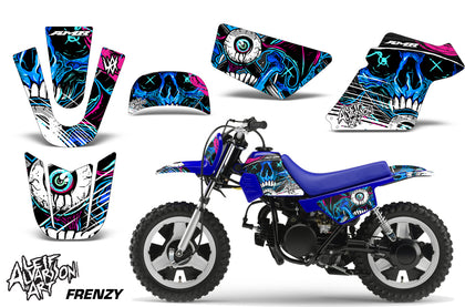 Dirt Bike Graphics Kit MX Decal Wrap For Yamaha PW50 PW 50 1990-2019 FRENZY BLUE-atv motorcycle utv parts accessories gear helmets jackets gloves pantsAll Terrain Depot