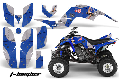 ATV Decal Graphics Kit Quad Sticker Wrap For Yamaha Raptor 660 2001-2005 TBOMBER BLUE