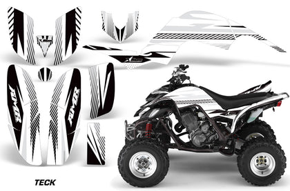 ATV Decal Graphics Kit Quad Sticker Wrap For Yamaha Raptor 660 2001-2005 TECK WHITE