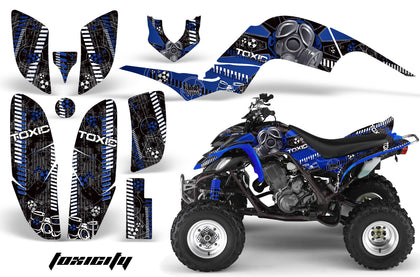 ATV Decal Graphics Kit Quad Sticker Wrap For Yamaha Raptor 660 2001-2005 TOXIC BLUE BLACK