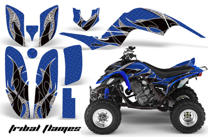 ATV Decal Graphics Kit Quad Sticker Wrap For Yamaha Raptor 660 2001-2005 TRIBAL BLACK BLUE