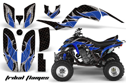 ATV Decal Graphics Kit Quad Sticker Wrap For Yamaha Raptor 660 2001-2005 TRIBAL BLUE BLACK