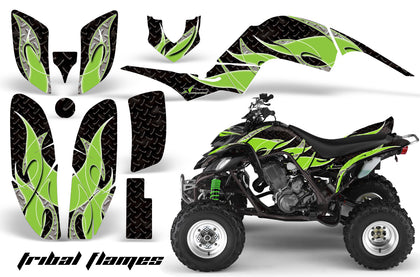 ATV Decal Graphics Kit Quad Sticker Wrap For Yamaha Raptor 660 2001-2005 TRIBAL GREEN BLACK