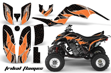 ATV Decal Graphics Kit Quad Sticker Wrap For Yamaha Raptor 660 2001-2005 TRIBAL ORANGE BLACK