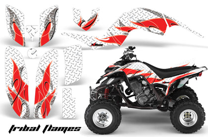ATV Decal Graphics Kit Quad Sticker Wrap For Yamaha Raptor 660 2001-2005 TRIBAL RED WHITE