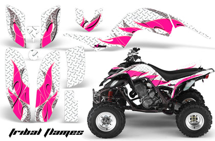 ATV Decal Graphics Kit Quad Sticker Wrap For Yamaha Raptor 660 2001-2005 TRIBAL PINK WHITE