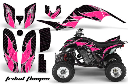 ATV Decal Graphics Kit Quad Sticker Wrap For Yamaha Raptor 660 2001-2005 TRIBAL PINK BLACK