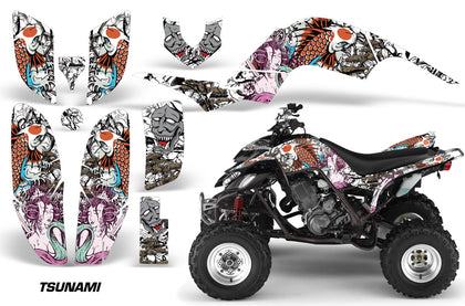 ATV Decal Graphics Kit Quad Sticker Wrap For Yamaha Raptor 660 2001-2005 TSUNAMI WHITE