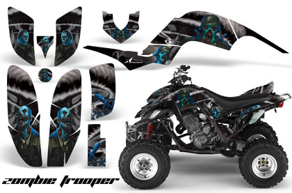 ATV Decal Graphics Kit Quad Sticker Wrap For Yamaha Raptor 660 2001-2005 ZOMBIE BLACK