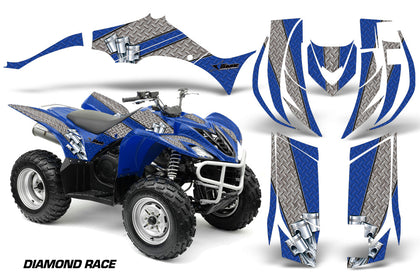ATV Decal Graphic Kit Quad Sticker Wrap For Yamaha Wolverine 450 2006-2012 DIAMOND RACE SILVER BLUE