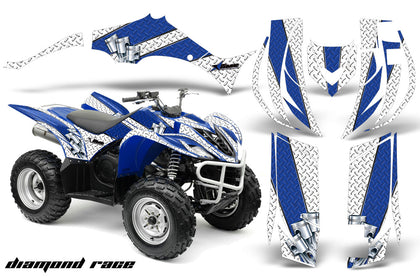 ATV Decal Graphic Kit Quad Sticker Wrap For Yamaha Wolverine 450 2006-2012 DIAMOND RACE BLUE WHITE