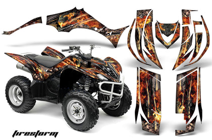 ATV Decal Graphic Kit Quad Sticker Wrap For Yamaha Wolverine 450 2006-2012 FIRESTORM BLACK