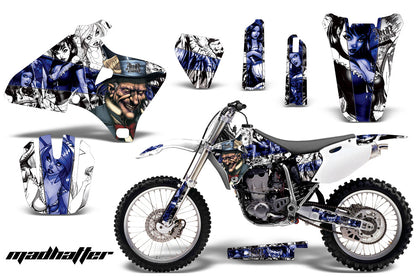Dirt Bike Graphics Kit Decal Wrap For Yamaha YZ 250F/400F/426F 1998-2002 HATTER WHITE BLUE