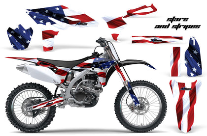 Dirt Bike Graphics Kit Decal Sticker Wrap For Yamaha YZ250F 2010-2013 USA FLAG