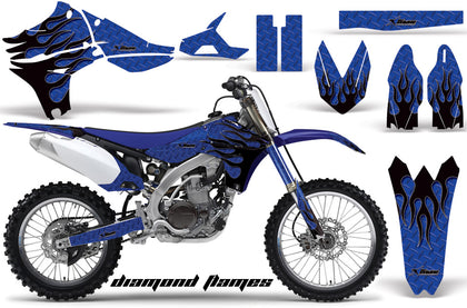 Dirt Bike Graphics Kit Decal Sticker Wrap For Yamaha YZ450F 2010-2013 DIAMOND FLAMES BLACK BLUE