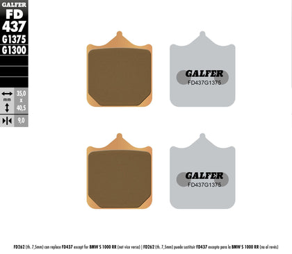 GALFER BRAKE PADS SINTERED CERAMIC FD437G1375 FD437G1375