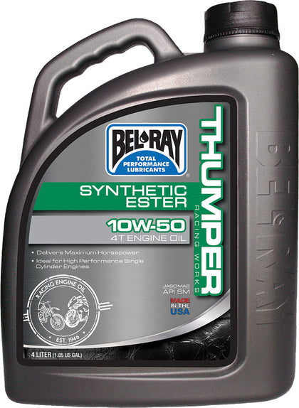 BEL-RAY THUMPER SYNTHETIC ESTER 4T ENGINE OIL 10W-50 4L 99550-B4LW