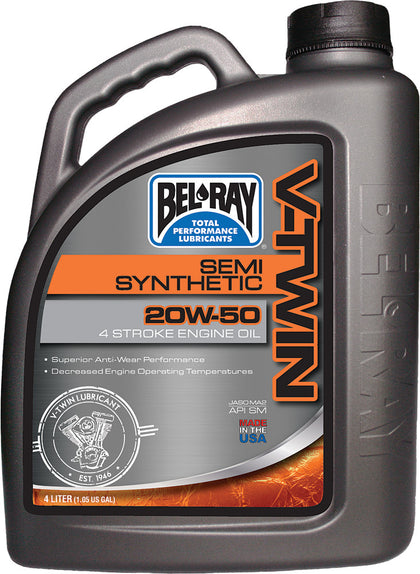 BEL-RAY V-TWIN SEMI-SYNTHETIC ENGINE OIL 20W-50 4L 96910-BT4