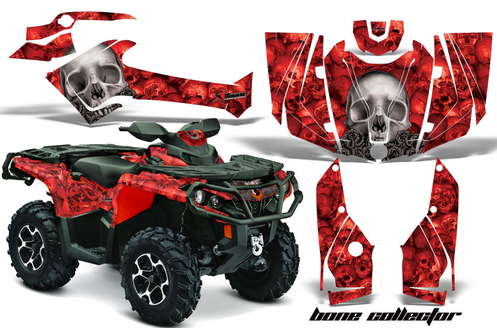 ATV Graphics Kit Decal Wrap For CanAm Outlander 800R/1000 XT-P DPS SST G2 BONES RED-atv motorcycle utv parts accessories gear helmets jackets gloves pantsAll Terrain Depot