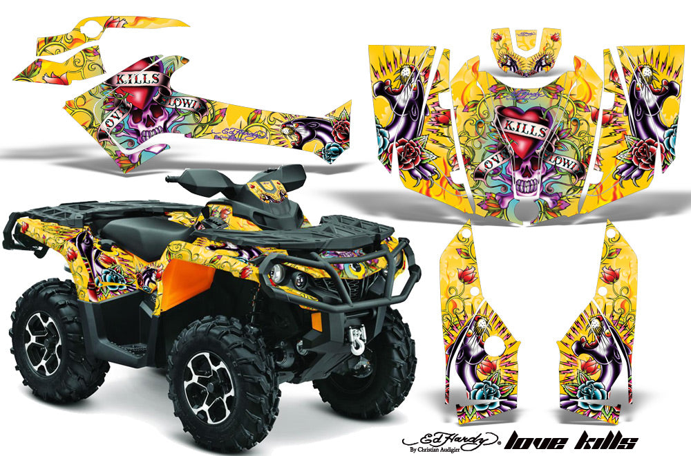 ATV Graphics Kit Decal Wrap For CanAm Outlander 800R/1000 XT-P DPS SST G2 EDHLK YELLOW-atv motorcycle utv parts accessories gear helmets jackets gloves pantsAll Terrain Depot
