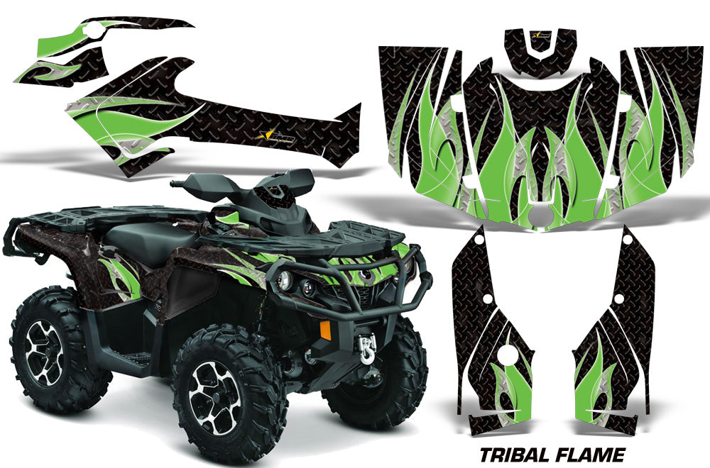 ATV Graphics Kit Decal Wrap For CanAm Outlander 800R/1000 XT-P DPS SST G2 TRIBAL GREEN BLACK-atv motorcycle utv parts accessories gear helmets jackets gloves pantsAll Terrain Depot