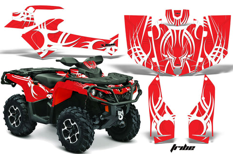 ATV Graphics Kit Decal Wrap For CanAm Outlander 800R/1000 XT-P DPS SST G2 TRIBE RED WHITE